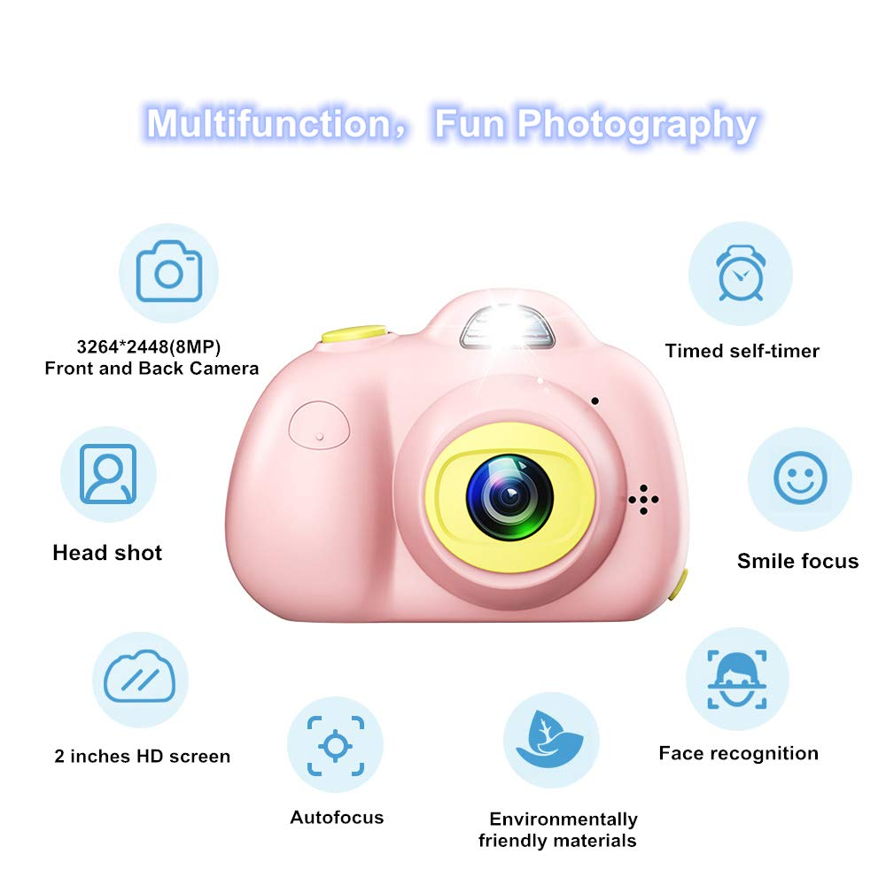 PerfectPromise Kids Toys Camera for Girls Boys,8MP Front and Back Camera 1080P HD Video Recorder Digital Camera for Children Girl Boy Gifts---Pink(32G TF Card Included) by PerfectPromise (Image #2)