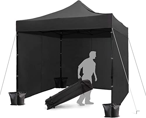 FinFree 10×10 FT Pop Up Canopy Tent Commercial Instant Canopy with Roller Bag,6 Walls and Weight Bags, Black