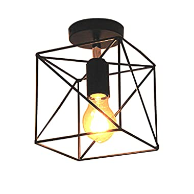 NIUYAO Industrial Antique Square Shape Mini Style Metal Wire Cage Vintage Semi Flush Mount Ceiling Light Fixture with 1 Light Black