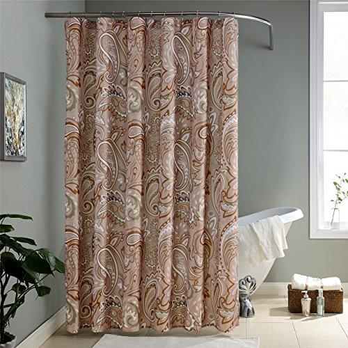 KindoBest Khaki/Tan Geometry Colorful Pattern Shower Curtain
