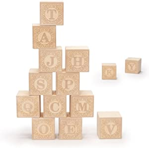 Uncle Goose Uppercase Alphablank Blocks - Made in USA