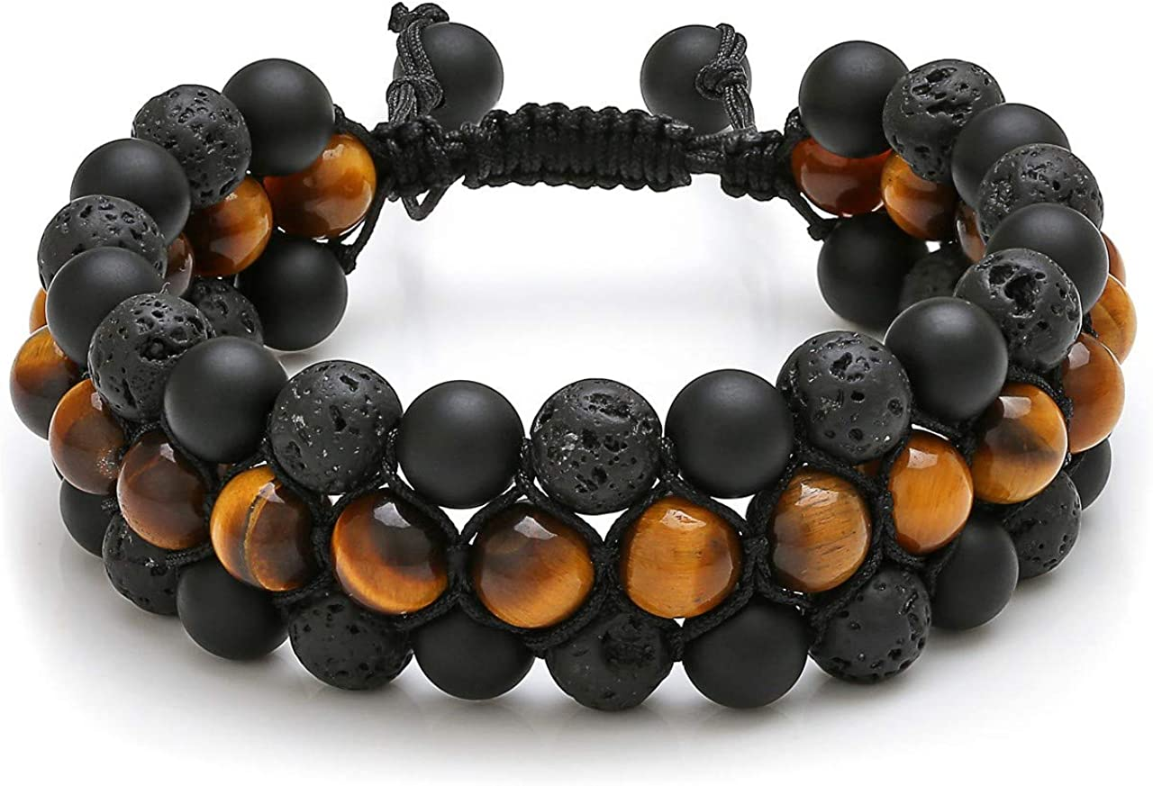 Top Plaza Mens Lava Rock Stone Essential Oil Diffuser Bracelet Chakra Yoga Healing Crystal Bracelet Natural Gemstone Beads Anxiety Bracelets Braided - 3 Layer