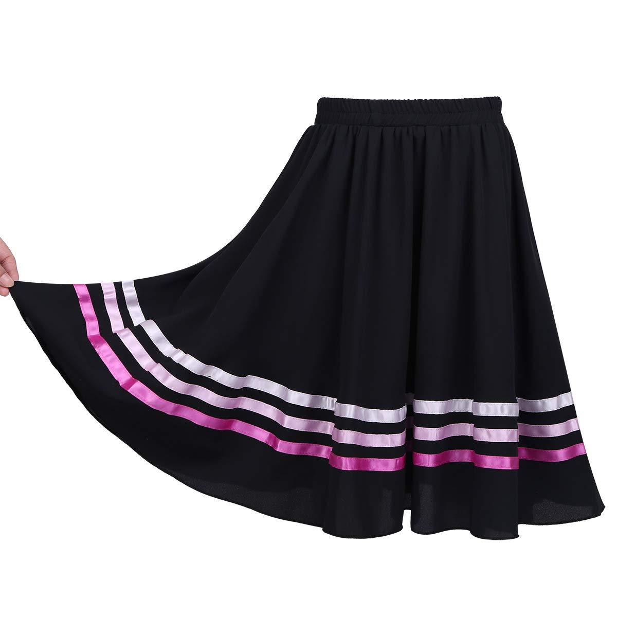 CHICTRY Full Length Flowy Praise Dance Circle Skirt for Kids Big Girls