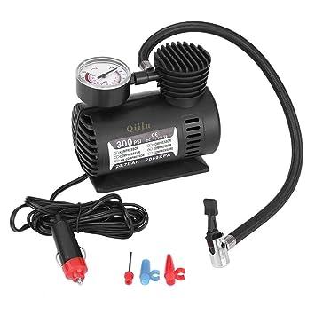 Qiilu 12V 300 PSI Mini Compresor de Aire Bomba eléctrica Inflable para neumáticos Portátil Emergencia para