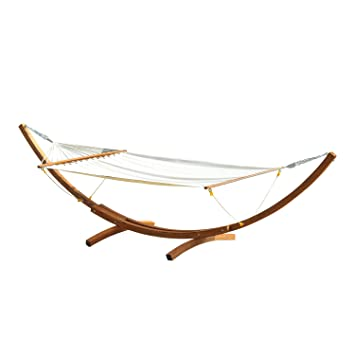 Outsunny 4 Metre Garden Outdoor Patio Wood Wooden Hammock With Arc ...