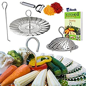 "Premium Vegetable Steamer Basket - 5.5-9.3"" - Best Bundle - Fits Instant Pot Pressure Cooker - 100% Stainless Steel - Bonus Accessories - Duo Julienne Peeler, Safety Hook Insert & Steam Food eBook"