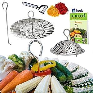 "PREMIUM Vegetable Steamer Basket - 5.5-9.3"" - BEST Bundle - Fits Instant Pot Pressure Cooker - 100% Stainless Steel - BONUS Accessories - Safety Tool + eBook + Julienne Peeler -Steam Food Insert"