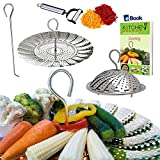 chinese rice bowls small - Instant Pot Veggie Steamer Basket - LARGE - Fits 5/6/8 Quart Pressure Cooker - 100% Stainless Steel - BONUS Julienne Vegetables Peeler, Safety Tool & Cooking eBook - Use as Egg Rack for Instapot