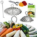 Instant Pot Vegetable Steamer Basket - BEST Bundle - Fits Instapot Pressure Cooker - 100% Stainless Steel - BONUS Accessories - Safety Tool + eBook + Julienne Peeler - Steam Food - Use as Egg Rack
