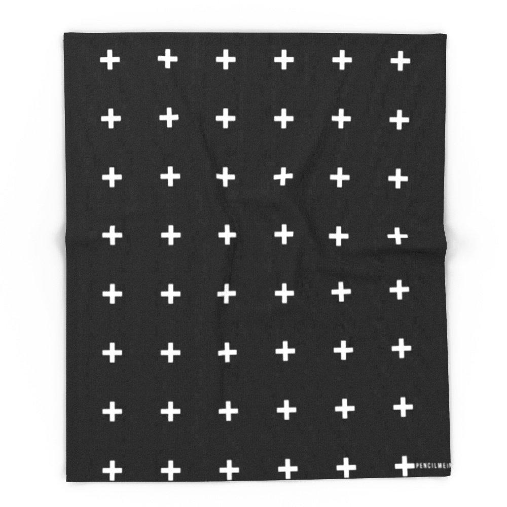 Society6 White Plus On Black /// Www.pencilmeinstationery.com 88'' x 104'' Blanket