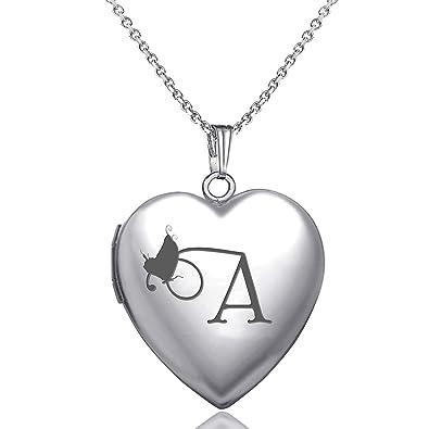 e524540d12 MUERDOU Locket Necklace That Holds Pictures Initial Alphabet Letter Heart  Shaped Photo Memory Locket Pendant Necklace