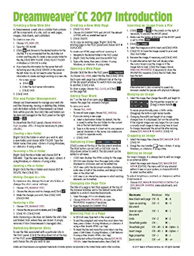 Adobe Dreamweaver CC 2017 Introduction Quick Reference Guide (Cheat Sheet of Instructions, Tips & Shortcuts - Laminated Card)