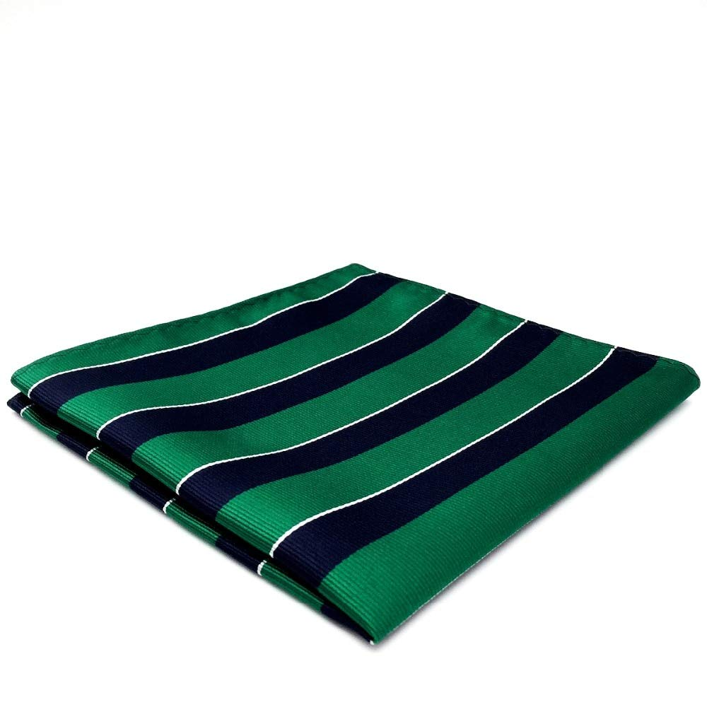 Shlax& Wing Stripes Blue Green Mens Pocket Square Hanky Large 12.6 Silk YH27