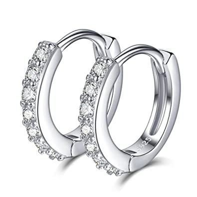 c6381cabb1a1a SELOVO 925 Sterling Silver 12mm Small Hinged Hoop Earrings Sleeper Cubic  Zirconia