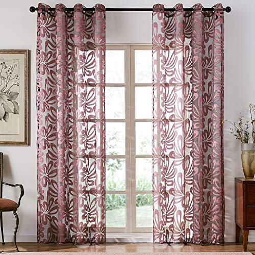 Top Finel Floral Sheer Curtains 84 Inches Long for Living Room Bedroom Grommet Voile Window Curtains, 2 Panels, Burgundy ()