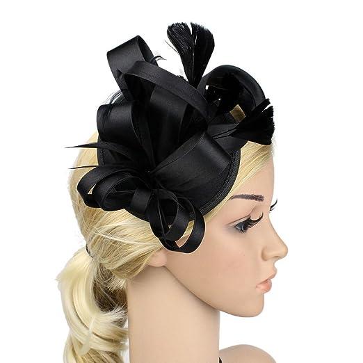 e71f3098490 Queenestar Satin Fascinator Flower Feather Hair Clip Wedding Derby Hat  Headwear(Black)