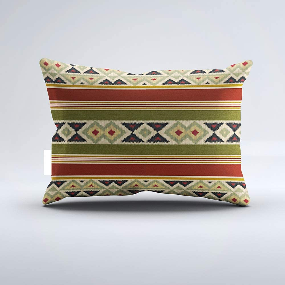 Zippered Pillow Covers Pillowcases One Side 12x20 Inch Cozy Native American Indian Stripes Ikat Art Pillow Pillow Cases Cushion Cover for Home Sofa Bedding