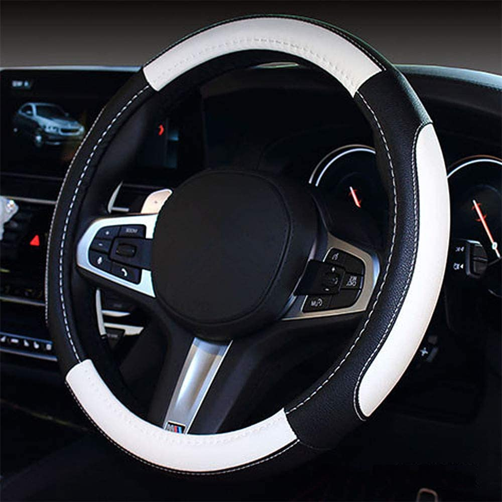 coofig Microfiber Leather Auto Car Steering Wheel Cover,Soft Padding,Comfortable Grip,Fit Most Car,Warm in Winter,Universal Size 14.5 15 15.5 Inches Blue