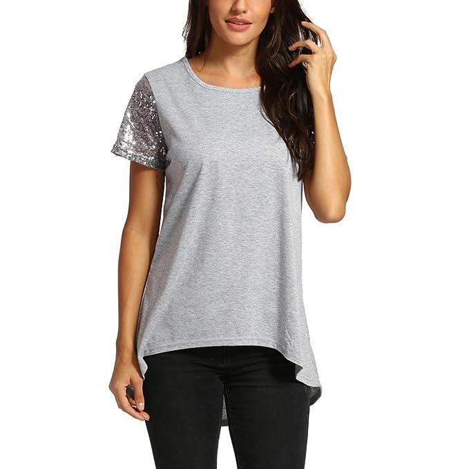 2f3c521832ee Longra T-Shirt in Cotone Top con Paillettes a Manica Corta da Donna Orlo  Irregolare