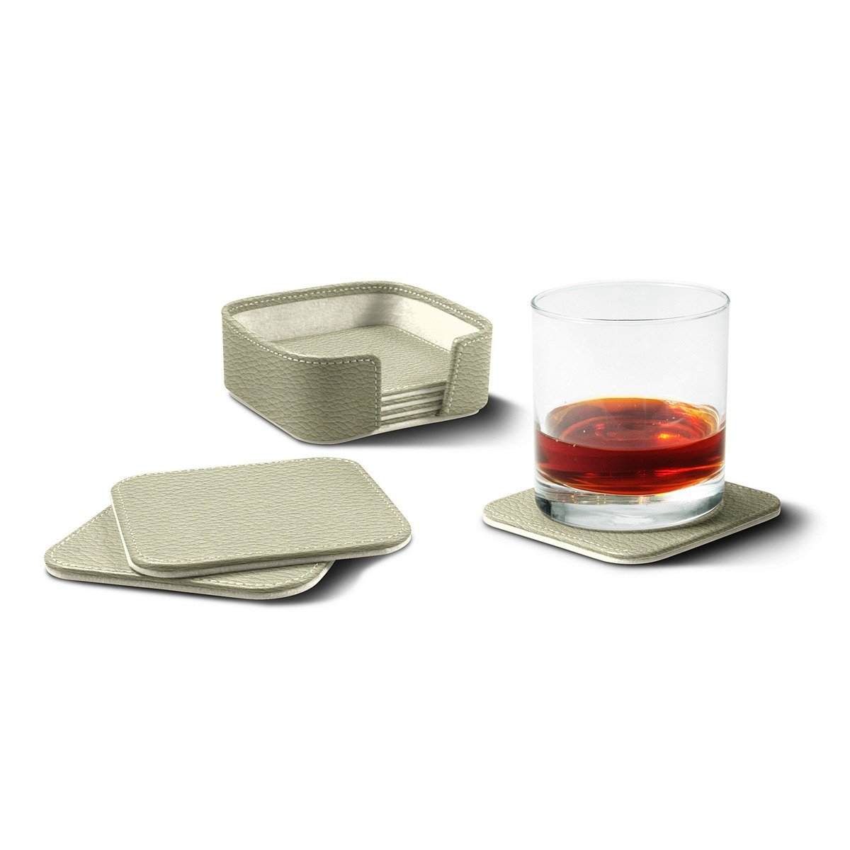 Lucrin - Set of 6 Square Genuine Leather Coasters with Coaster Holder -White - Granulated Leather