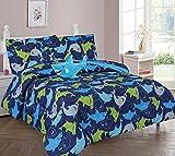GorgeousHome SHARK Design Navy Blue Deluxe Kids/Teens Boys Complete Bedroom Decor Comforter/Sheet Set or Window Dressing Curtain Panel or Valance (8PC FULL COMFORTER SET) For Sale