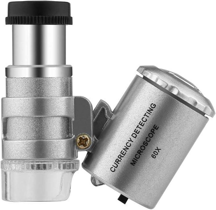Togames-DE Handheld-Geldpr/üfger/ät 60X W/ährungserkennung Mikroskop Lupe LED UV