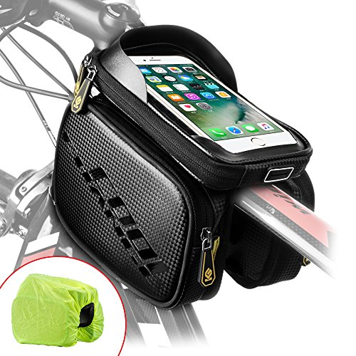Cool Change Bike Frame Bag Touch Screen | Tough Case | Safty Edge Reflective| Mobile Cell Phone Bag Top Tube Bag for 6.2Phone