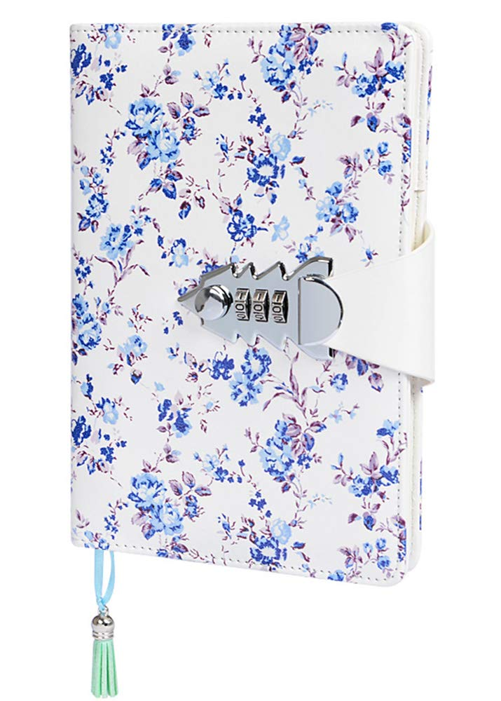 ARRLSDB Floral Password Lock Journal A5 PU Leather Journal with Combination Lock Digital Password Notebook Locking Journal Diary (Blue)