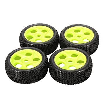 Goolsky 4pcs llantas de goma de 112 mm 17 mm borde de la rueda hexagonal Hub para 1/8 RC Buggy Buggy Off-Road Car Truck: Amazon.es: Juguetes y juegos