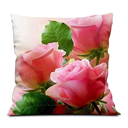 Amazon.com: Color rosa rosas, hojas verdes, paño suave ...