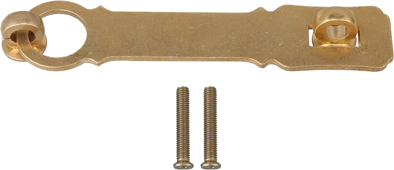Walmine 15.5cm Brass Hasp Furniture Buckle Cabinet Lock Antique Drawer Bolt for Cabinets Drawers Brass Color