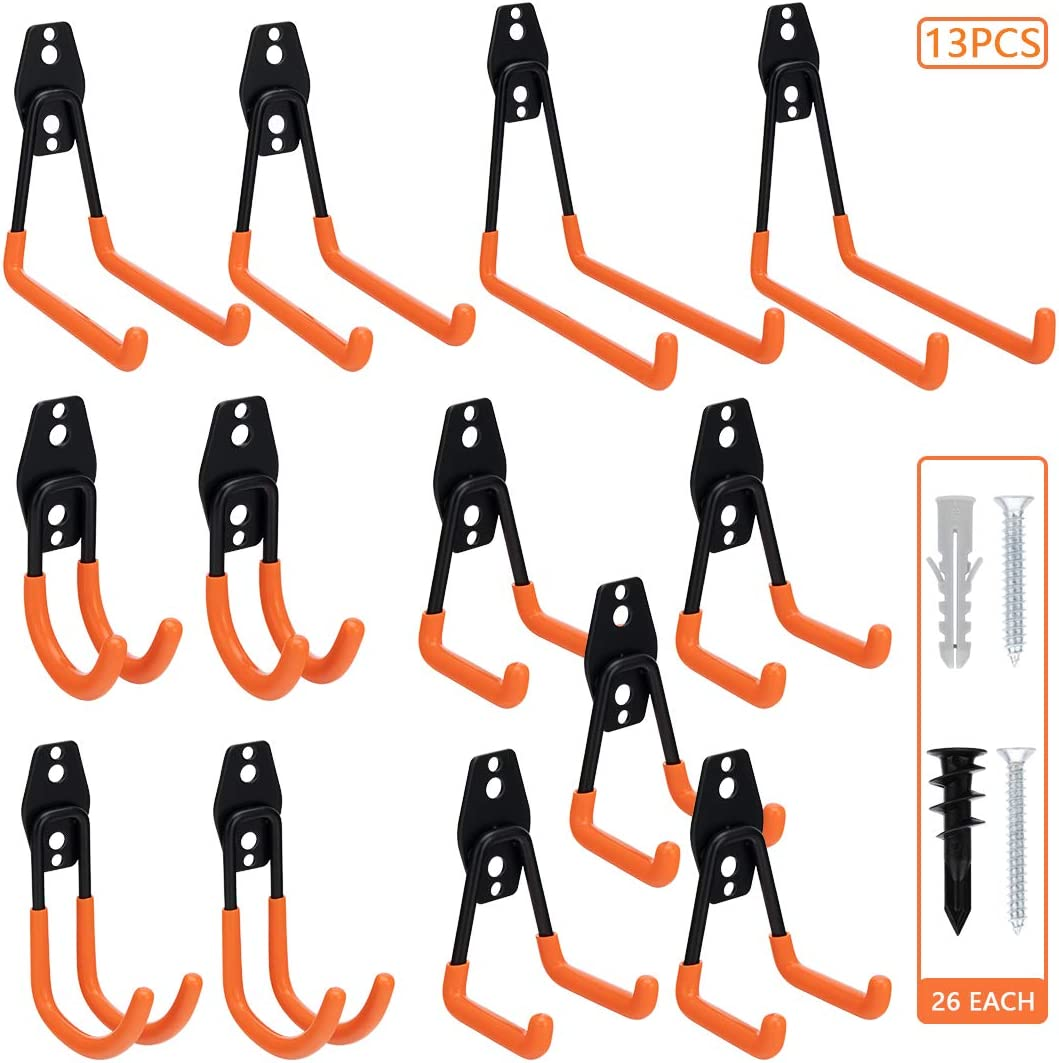 Tompig Garage Hooks Heavy Duty 13 Pack,Steel Garage Storage Hooks,Wall Mount Garage Organizer for Garden Tools,Storage for Ladders,Bike,Hoses,and More Equipment