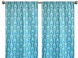 Pair of rod curtains 50'' wide panels arrow macon blue white aqua window treatment nursery cotton drapes 84 96 108