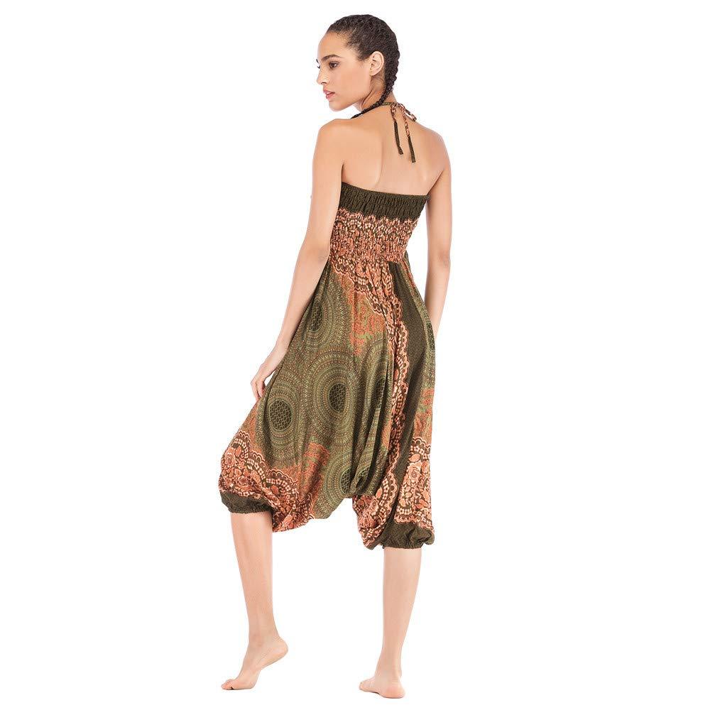 Harem Pants Women's Hippie Bohemian Yoga Pants One Size Aladdin Harem Hippie Pants Jumpsuit Smocked Waist 2 in 1 (Free, Army Green) by BingYELH Yoga (Image #4)