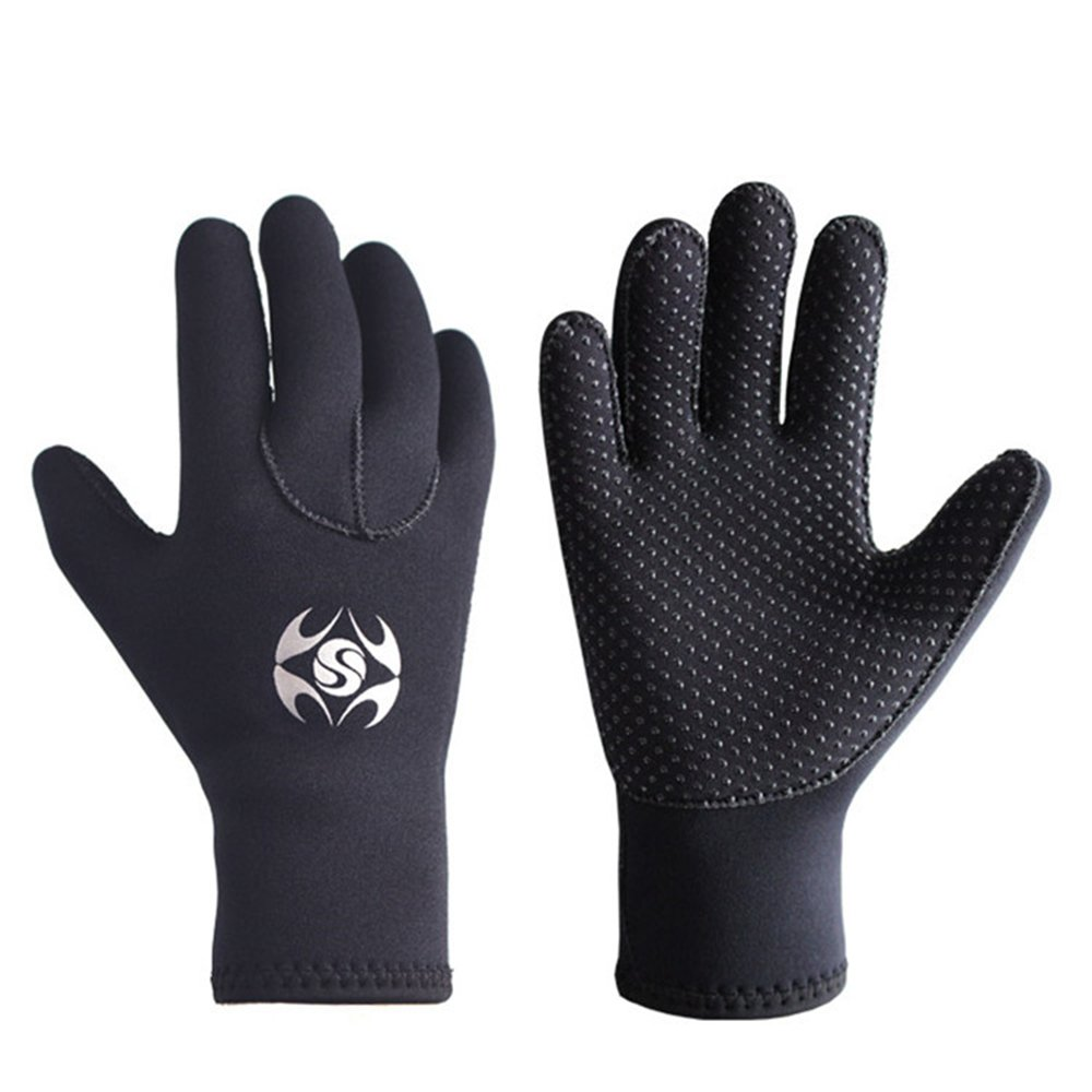 Diving Gloves Neoprene, Wetsuits Five Finger Gloves, 3MM Anti Slip Flexible Thermal Material for Snorkeling Swimming Surfing Sailing Kayaking Diving (S) by Skyone