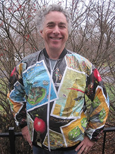 Liberty Tower - Vintage New York Tyvek Jacket with Twin Towers Times Square Empire State Statue of Liberty (36-S)