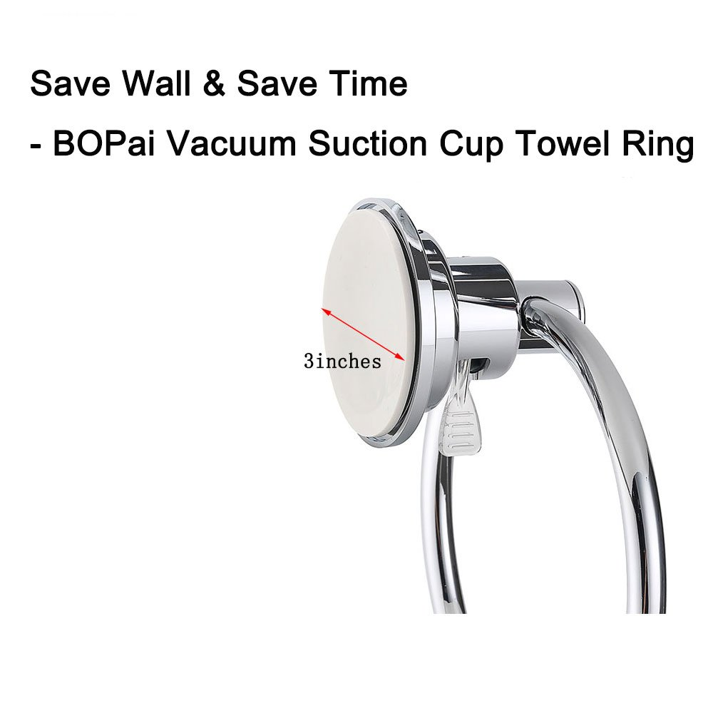 Bopai Drill Free Powerful Vacuum Suction Cup Towel Ring Shower Washcloth Hand Towel Round Holder by Bopai (Image #3)