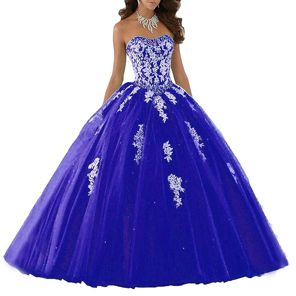 bluee Vantexi Women's Elegant Lace Tulle Prom Dress Quinceanera Dresses Sweet 16 Ball Gown