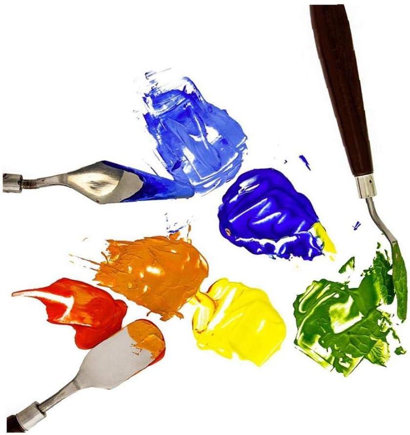 LAANCOO Inoxidable Artista de Acero del Cuchillo de Paleta acr/ílico Mezclado Paquete de 5 esp/átula Pintura mezclando rascador Herramienta de Arte Fino y Flexible para la Pintura al /óleo