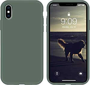 cillen Silicone Case for iPhone X/iPhone Xs case Liquid Silicone Gel Rubber Phone Case,iPhone X/iPhone Xs 5.8 Inch Slim Soft Microfiber Lining Protective Case(Forest Green)