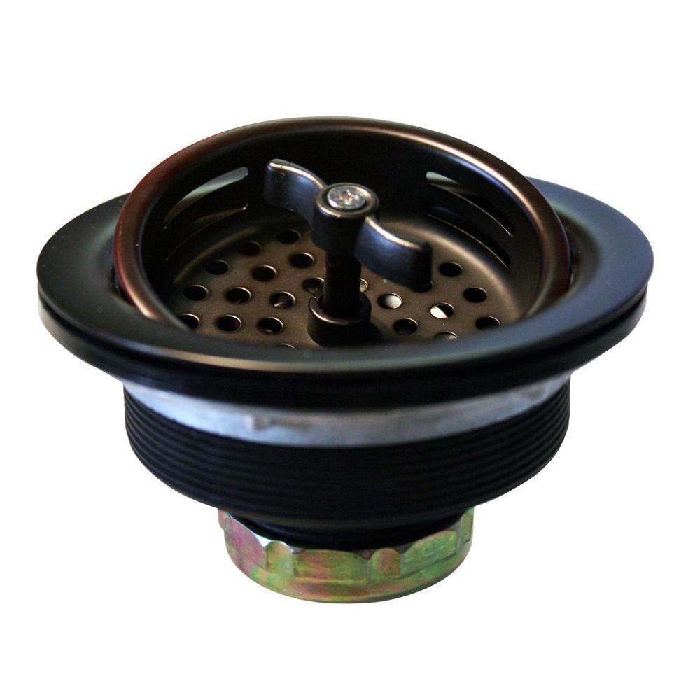 Westbrass Wing Nut Style Large Kitchen Sink Basket Strainer, Oil Rubbed Bronze, D213-12