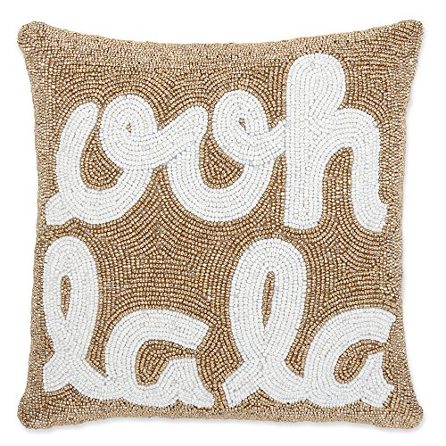 """Ooh La La"" Beaded 12-Inch Square Throw Pillow in Gold"