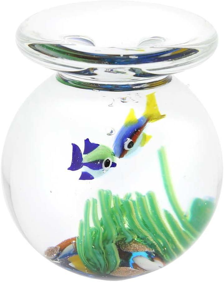 GlassOfVenice Murano Glass Aquarium Jar with Two Tropical Fish