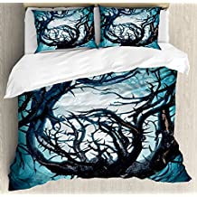 Mystic Decor Queen Size Duvet Cover Set by Ambesonne, Big Mystic Tree with Big Thorns Branch in Light Spooky Night Fantasy Illustration, Decorative 3 Piece Bedding Set with 2 Pillow Shams, Teal White