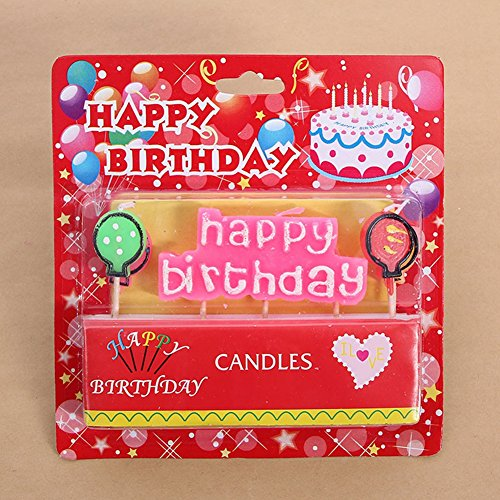 elegantstunning Happy Birthday Words and Balloons Candles Set Birthday Cake Decoration, White Letters with Pink ()