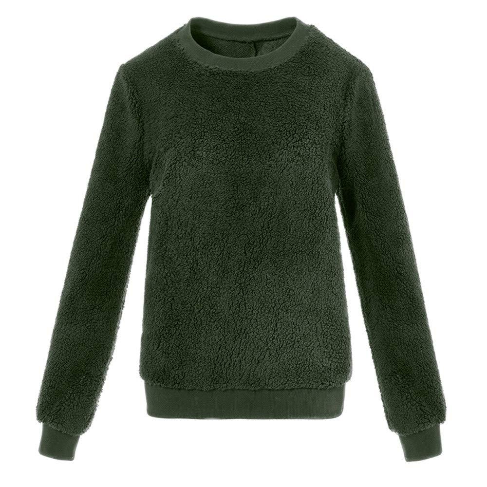 Women Blouse, Farjing Plush Sweater Imitation Lambskin Round Neck Long Sleeve Blouse(5XL,Army Green)