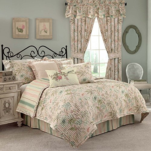 Waverly Cape Quilt Set, Twin, Coral - Homestyles Twin Bed
