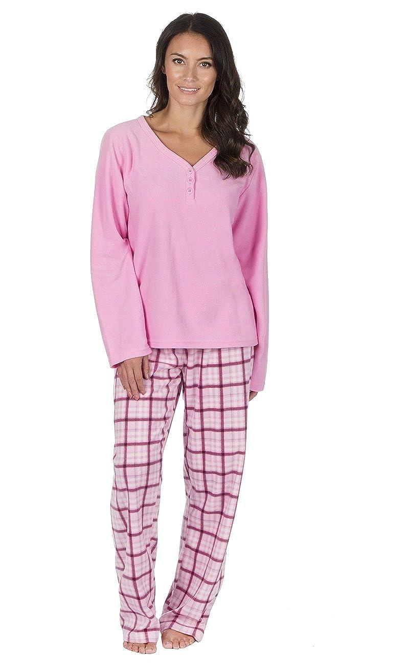 Ladies Thermal Fleece Pyjama Set with Check Bottoms Pink)