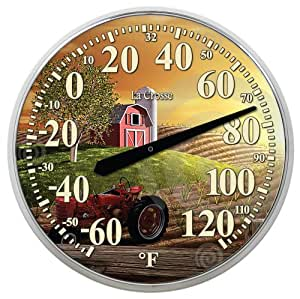 """La Crosse Technology 104-114-Farm 13.5"""" Round Thermometer with Key Hider"""