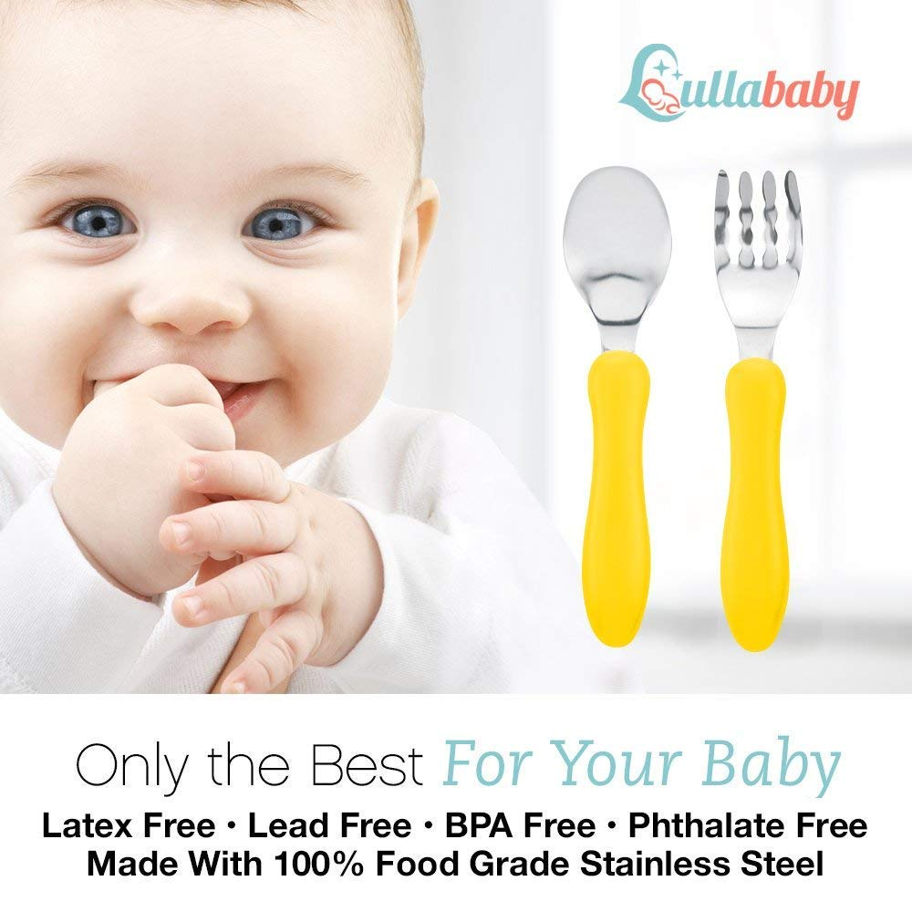 Toddler Forks and Toddler Spoon Silverware Set | Toddler Utensils with Toddler Fork and Baby Spoon| Spoon for Toddler | Baby Fork and Baby Spoon Travel Utensils with Case |Toddler Silverware BPA Free by Lullababy (Image #4)